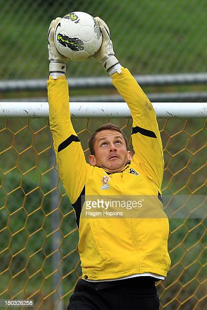 Glen Moss makes a save during a Wellington Phoenix ALeague training session at Newtown Park on August 16 2012 in Wellington New Zealand
