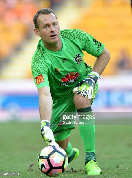 Glen Moss of the Phoenix clears the ball out during the round 21 ALeague match between the Brisbane Roar and the Wellington Phoenix at Suncorp...