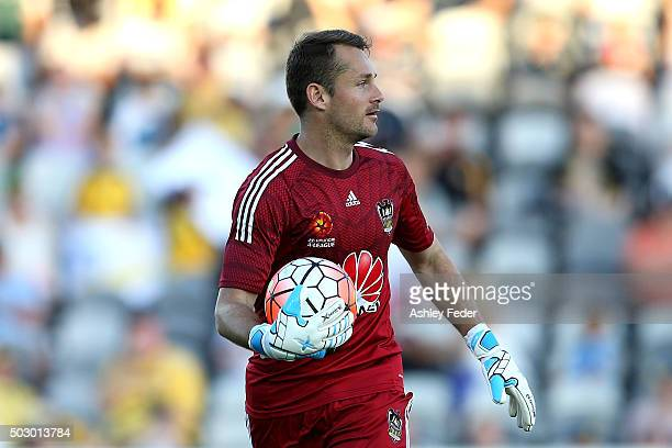 Glen Moss of the Phoenix holds the ball during the round 13 ALeague match between the Central Coast Mariners and the Wellington Phoenix at Central...