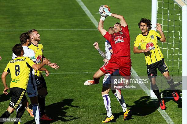 Glen Moss of the Phoenix makes a save during the round 24 ALeague match between the Wellington Phoenix and the Perth Glory at Westpac Stadium on...