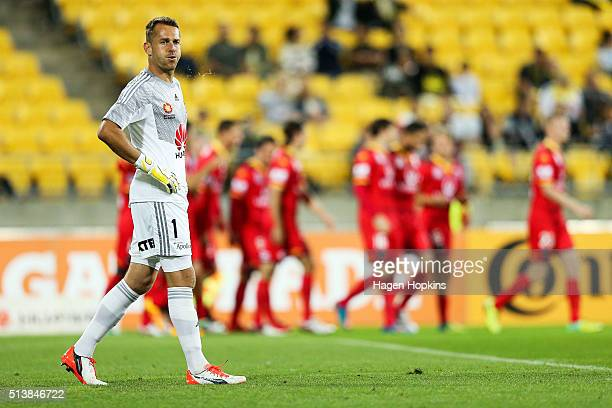 Glen Moss of the Phoenix reacts after coceding a goal during the round 22 ALeague match between the Wellington Phoenix and Adelaide United at Westpac...