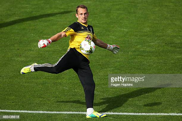Glen Moss of the Phoenix warms up during the round 20 ALeague match between the Wellington Phoenix and Adelaide United at Hutt Recreation Ground on...