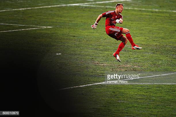 Glen Moss of the Wellington Phoenix kicks the ball through during the round nine ALeague match between the Wellington Phoenix and Melbourne Victory...