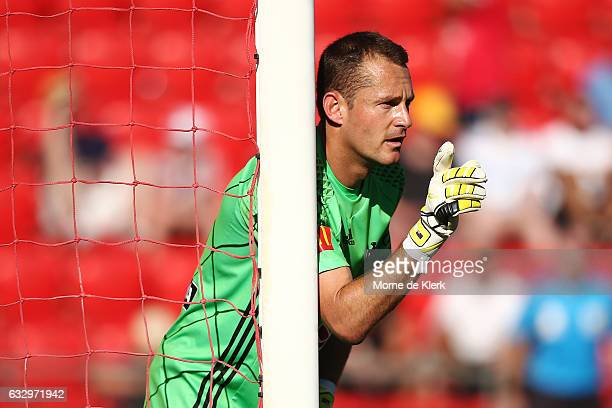 Glen Moss of Wellington Phoenix organises his players during the round 17 ALeague match between Adelaide United and the Wellington Phoenix at Coopers...