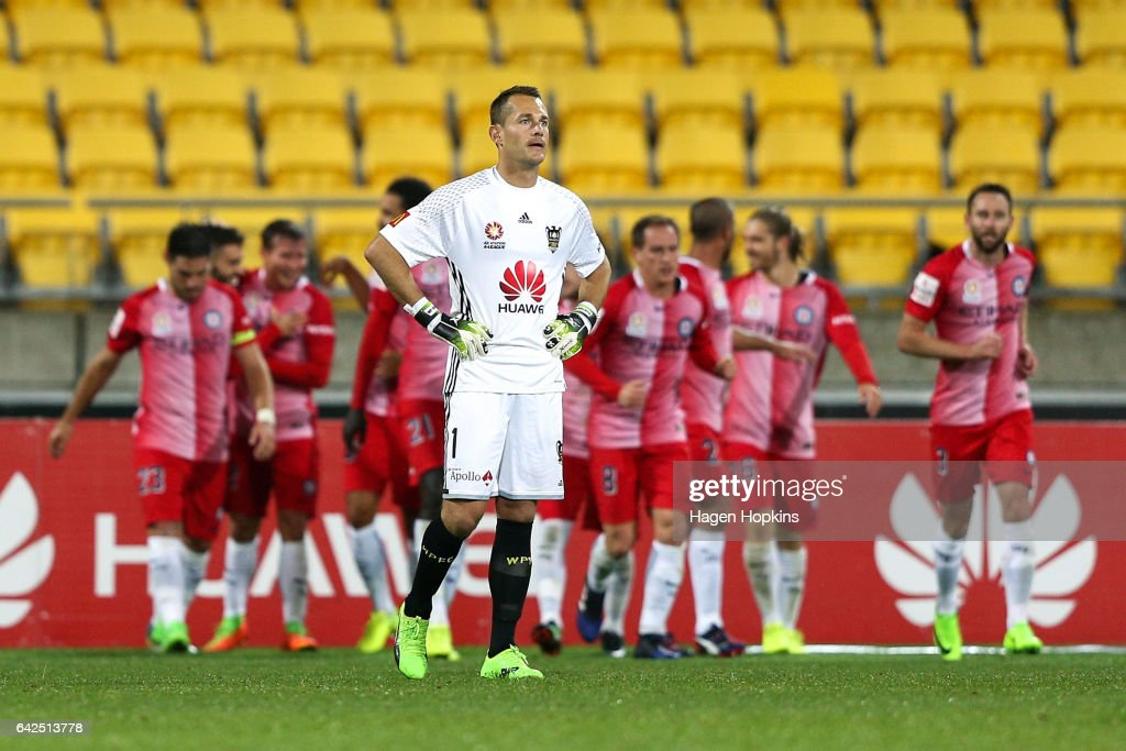 Glen Moss shows his disappointment after a Melbourne goal during the round 20 A-League match between the Wellington Phoenix and Melbourne City at Westpac Stadium on February 18, 2017 in Wellington, New Zealand.