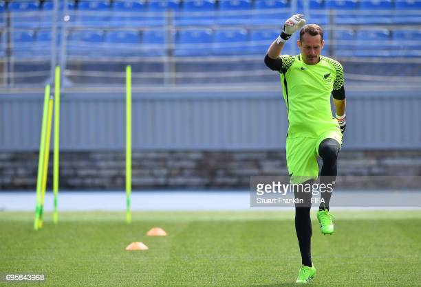 Glen Moss warms up during a training session of the New Zealand national football team on June 14 2017 in Saint Petersburg Russia