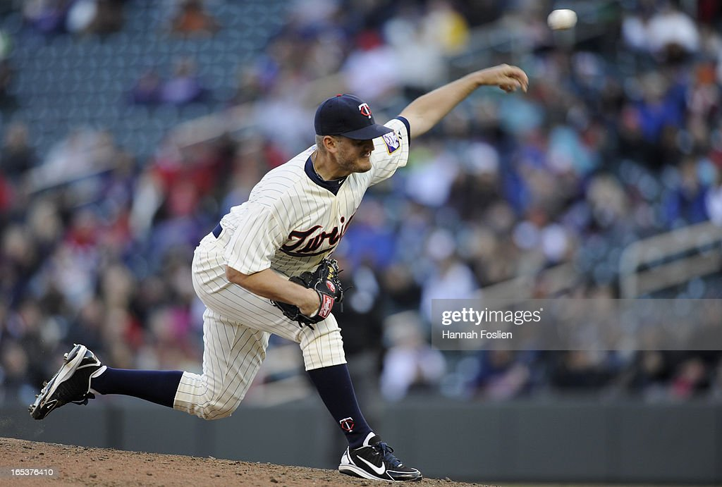 <a gi-track='captionPersonalityLinkClicked' href=/galleries/search?phrase=Glen+Perkins&family=editorial&specificpeople=835845 ng-click='$event.stopPropagation()'>Glen Perkins</a> #15 of the Minnesota Twins delivers a pitch against the Detroit Tigers during the ninth inning of the game on April 3, 2013 at Target Field in Minneapolis, Minnesota. The Twins defeated the Tigers 3-2.