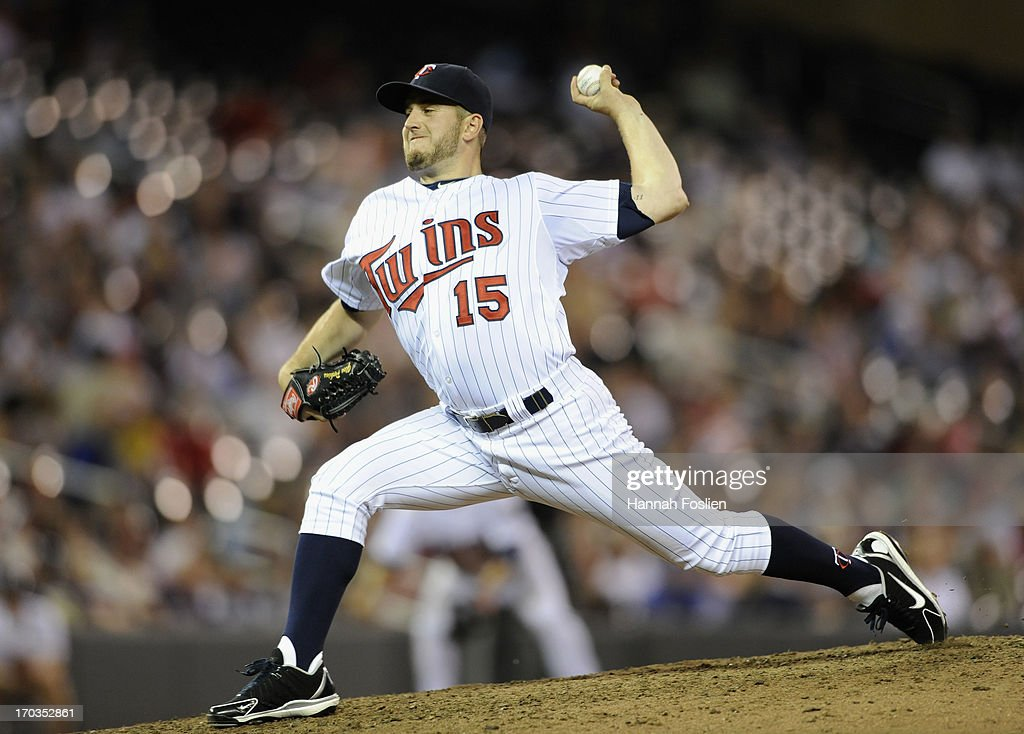 <a gi-track='captionPersonalityLinkClicked' href=/galleries/search?phrase=Glen+Perkins&family=editorial&specificpeople=835845 ng-click='$event.stopPropagation()'>Glen Perkins</a> #15 of the Minnesota Twins delivers a pitch against the Philadelphia Phillies during the ninth inning of the game on June 11, 2013 at Target Field in Minneapolis, Minnesota. The Twins defeated the Phillies 3-2.