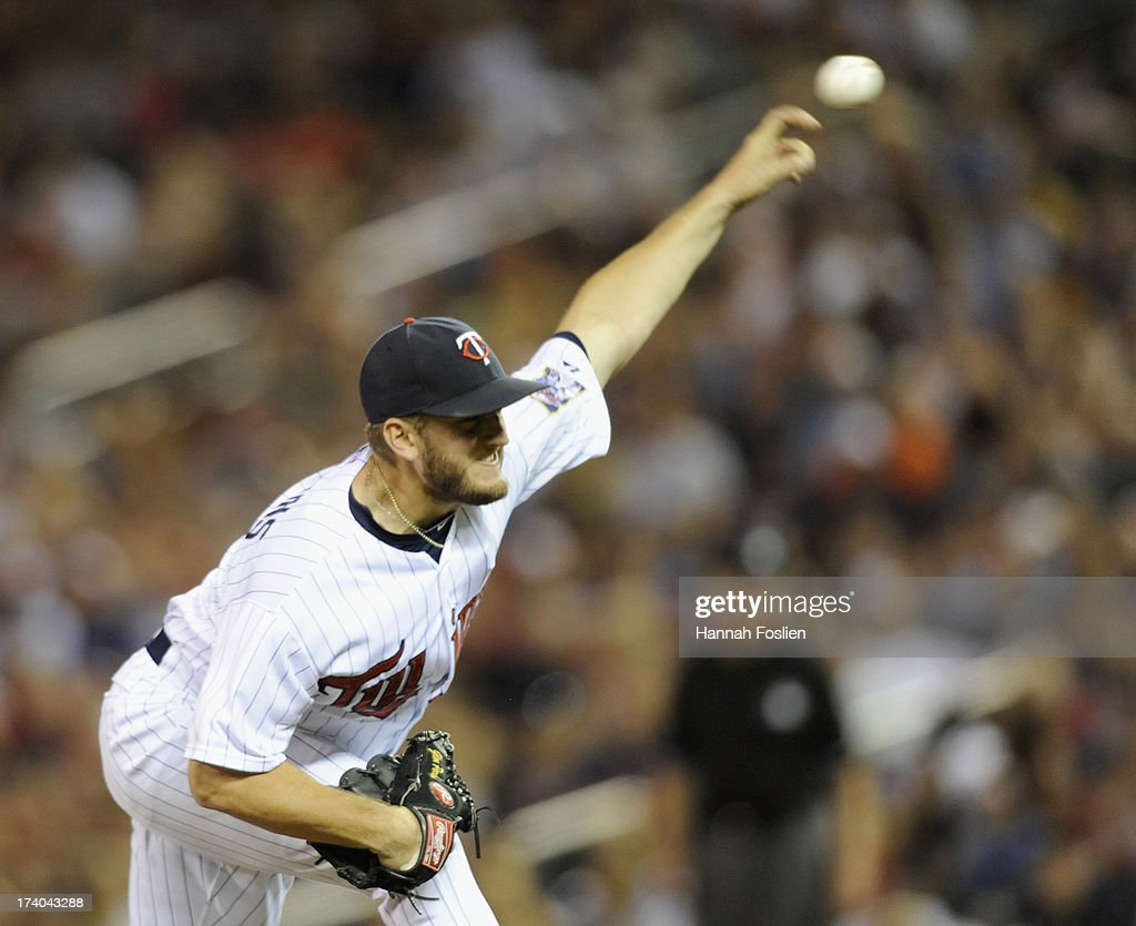<a gi-track='captionPersonalityLinkClicked' href=/galleries/search?phrase=Glen+Perkins&family=editorial&specificpeople=835845 ng-click='$event.stopPropagation()'>Glen Perkins</a> #15 of the Minnesota Twins delivers a pitch against the Cleveland Indians during the ninth inning of the game on July 19, 2013 at Target Field in Minneapolis, Minnesota. The Twins defeated the Indians 3-2.