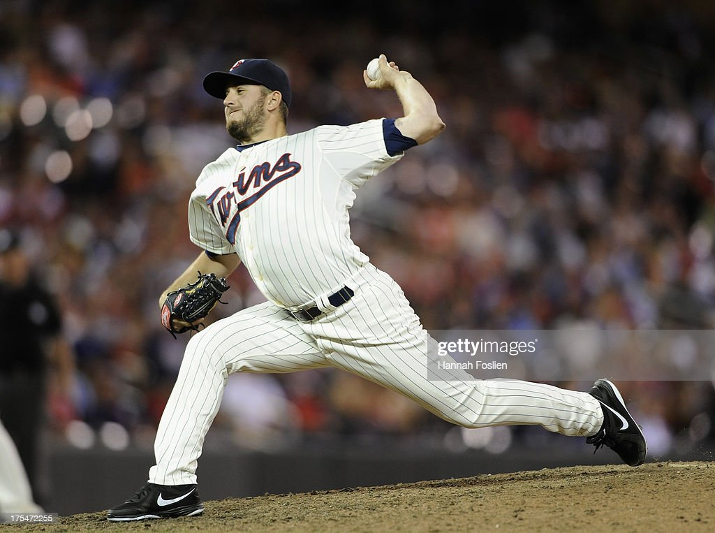 <a gi-track='captionPersonalityLinkClicked' href=/galleries/search?phrase=Glen+Perkins&family=editorial&specificpeople=835845 ng-click='$event.stopPropagation()'>Glen Perkins</a> #15 of the Minnesota Twins delivers a pitch against the Houston Astros during the ninth inning of the game on August 3, 2013 at Target Field in Minneapolis, Minnesota. The Twins defeated the Astros 6-4.