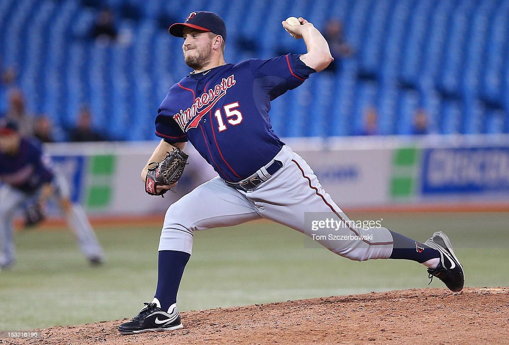 <a gi-track='captionPersonalityLinkClicked' href=/galleries/search?phrase=Glen+Perkins&family=editorial&specificpeople=835845 ng-click='$event.stopPropagation()'>Glen Perkins</a> #15 of the Minnesota Twins delivers a pitch during MLB game action against the Toronto Blue Jays on October 1, 2012 at Rogers Centre in Toronto, Ontario, Canada.