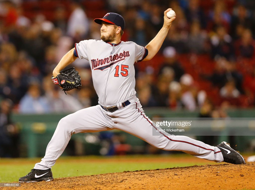 <a gi-track='captionPersonalityLinkClicked' href=/galleries/search?phrase=Glen+Perkins&family=editorial&specificpeople=835845 ng-click='$event.stopPropagation()'>Glen Perkins</a> #15 of the Minnesota Twins pitches against the Boston Red Sox during the game on May 9, 2013 at Fenway Park in Boston, Massachusetts.