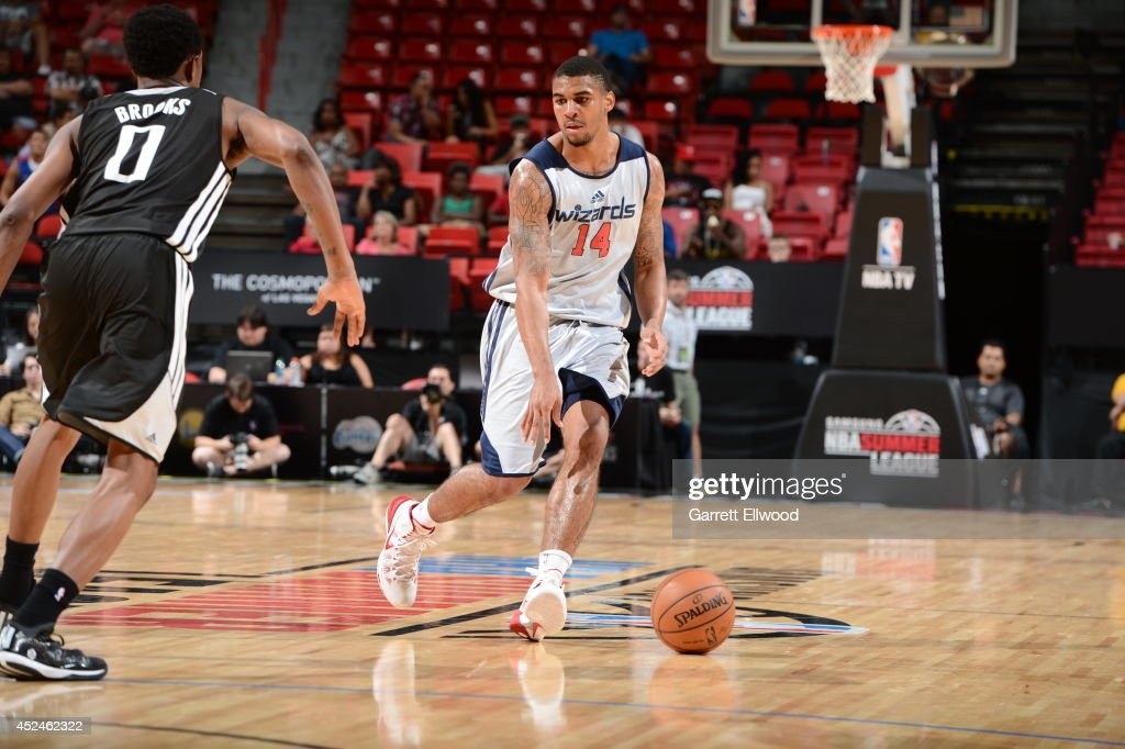 Glen Rice Jr. #14 of the Washington Wizards moves the ball up-court against the Sacramento Kings at the Samsung NBA Summer League 2014 on July 20, 2014 at the Thomas and Mack Center in Las Vegas, Nevada.