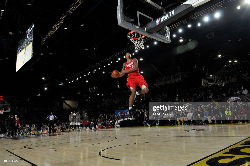 Glen Rice Jr. #24 of the Rio Grande Valley Vipers attempts a dunk during the NBA D-League Dream Factory presented by Boost Mobile in Sprint Arena at Jam Session during NBA All Star Weekend on February 16, 2013 at the George R. Brown in Houston, Texas.