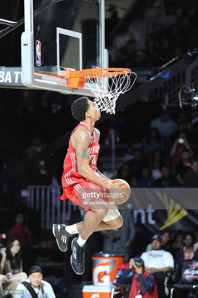 Glen Rice Jr. #24 of the Rio Grande Vipers attempts a dunk during the NBA D-League Dream Factory presented by Boost Mobile in Sprint Arena at Jam Session during NBA All Star Weekend on February 16, 2013 at the George R. Brown in Houston, Texas.