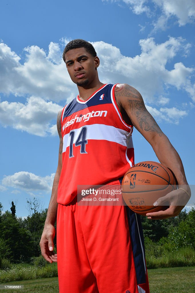 Glen Rice Jr. of the Washington Wizards poses for a portrait during the 2013 NBA Rookie Photo Shoot on August 6, 2013 at the MSG Training Facility in Tarrytown, New York.