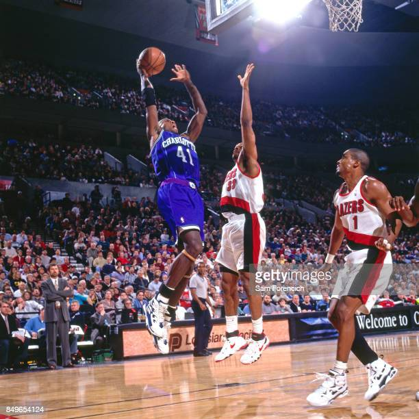 Glen Rice of the Charlotte Hornets shoots circa 1996 at the Rose Garden in Portland Oregon NOTE TO USER User expressly acknowledges and agrees that...