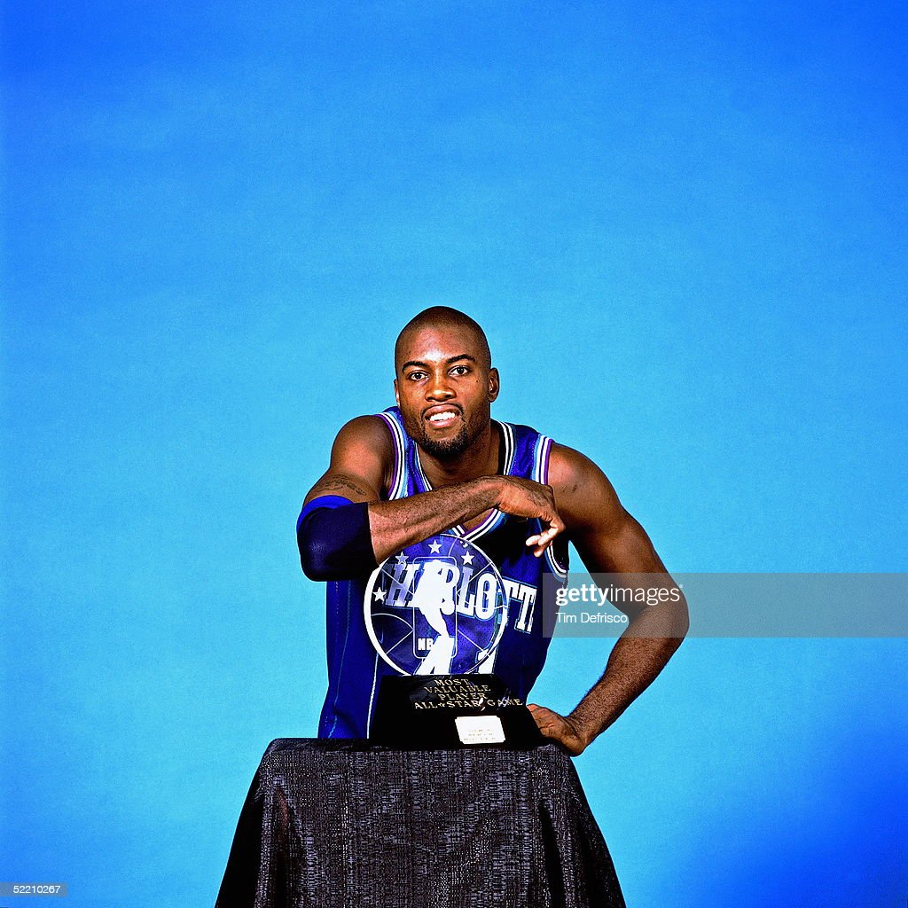 Glen Rice Portrait with All Star MVP Trophy