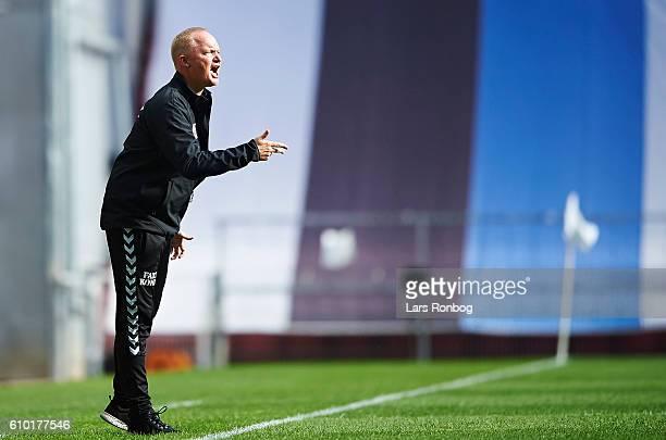 Glen Riddersholm head coach of AGF Aarhus gestures during the Danish Alka Superliga match between FC Copenhagen and AGF Aarhus at Telia Parken...