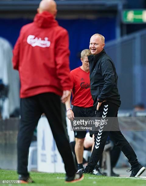 Glen Riddersholm head coach of AGF Aarhus laughs during the Danish Alka Superliga match between FC Copenhagen and AGF Aarhus at Telia Parken Stadium...