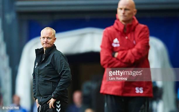 Glen Riddersholm head coach of AGF Aarhus looks dejected during the Danish Alka Superliga match between FC Copenhagen and AGF Aarhus at Telia Parken...