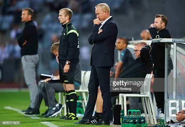 Glen Riddersholm head coach of AGF Aarhus looks on during the Danish Alka Superliga match between AGF Aarhus and FC Nordsjalland at Ceres Park on...