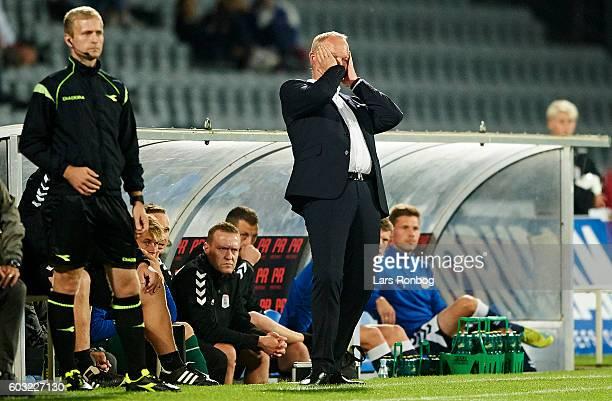 Glen Riddersholm head coach of AGF Aarhus shows frustration during the Danish Alka Superliga match between AGF Aarhus and FC Nordsjalland at Ceres...