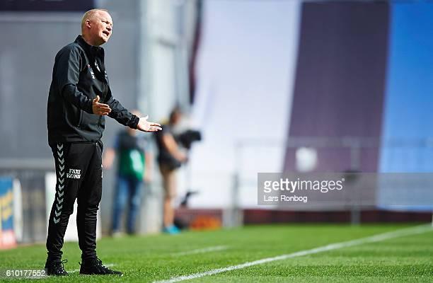 Glen Riddersholm head coach of AGF Aarhus shows frustration during the Danish Alka Superliga match between FC Copenhagen and AGF Aarhus at Telia...