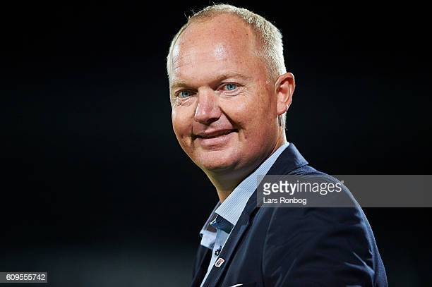 Glen Riddersholm head coach of AGF Aarhus smiles to the camera during the Danish Alka Superliga match between AGF Aarhus and FC Midtjylland at Ceres...