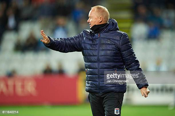 Glen Riddersholm head coach of AGF Arhus gives instructions during the Danish Alka Superliga match between OB Odense and AGF Arhus at TREFOR Park on...