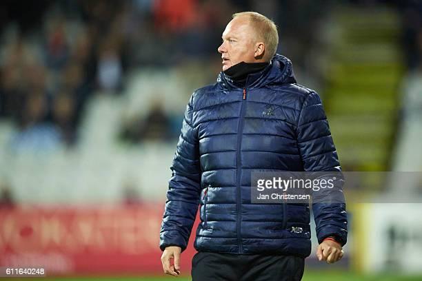 Glen Riddersholm head coach of AGF Arhus looks on during the Danish Alka Superliga match between OB Odense and AGF Arhus at TREFOR Park on September...