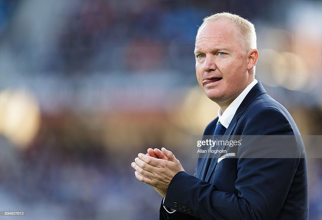 Glen Riddersholm, head coach of AGF during the Danish Alka Superliga match between AGF Aarhus and OB Odense at Ceres Park on May 26, 2016 in Aarhus, Denmark.