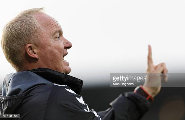 Glen Riddersholm head coach of AGF during the Danish Alka Superliga match between AaB Aalborg and AGF Aarhus at Nordjyske Arena on August 28 2016 in...