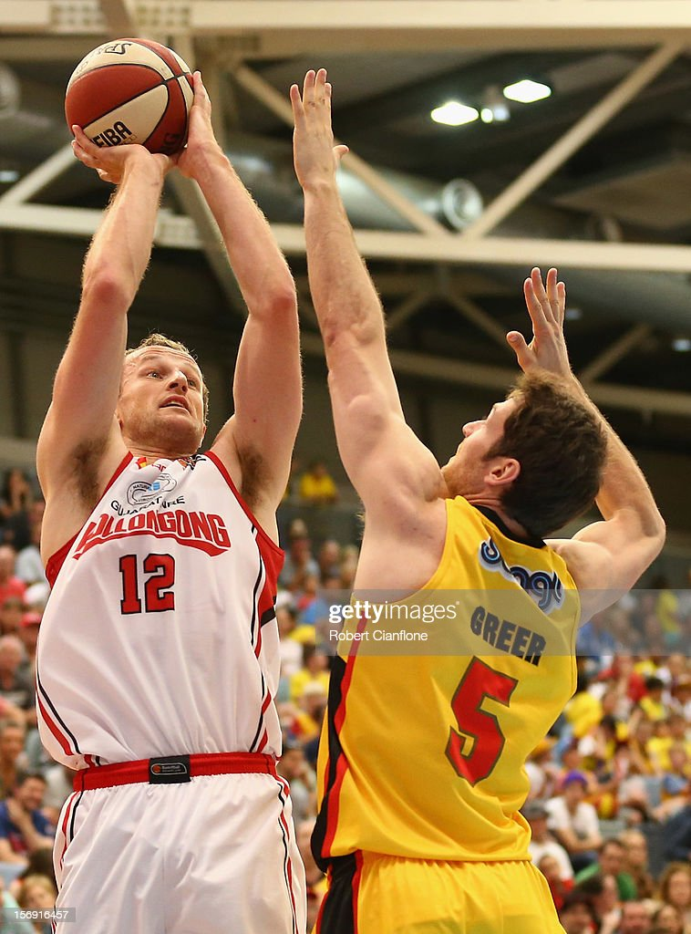 Glen Saville of the Hawks looks to get the ball past Tommy Greer of the Tigers during the round eight NBL match between the Melbourne Tigers and the Wollongong Hawks at State Netball Hockey Centre on November 25, 2012 in Melbourne, Australia.