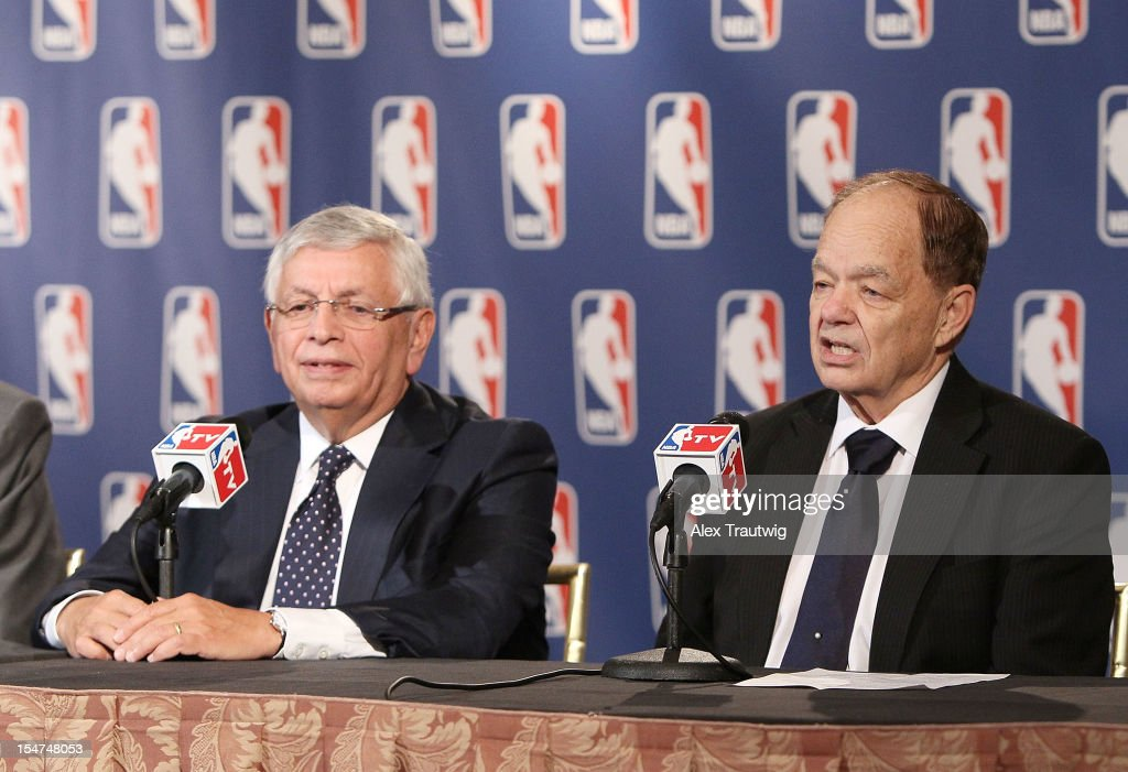 Glen Taylor (R), owner of the Minnesota Timberwolves, speaks to the media following the NBA Board of Governors Meeting, during which Commissioner David Stern (L) outlined his plans to step down in February 2014 at the St. Regis hotel on October 25, 2012 in New York City.