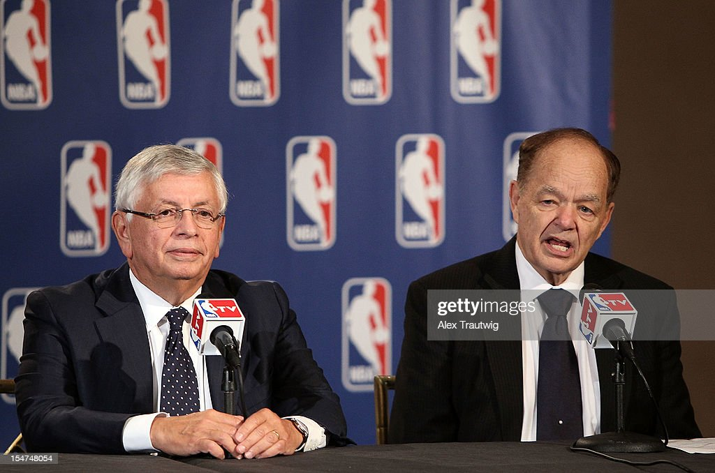 Glen Taylor (R), owner of the Minnesota Timberwolves, speaks to the media following the NBA Board of Governors Meeting, during which Commissioner David Stern (L) outlined his plans to step down in February 2014, at the St. Regis hotel on October 25, 2012 in New York City.