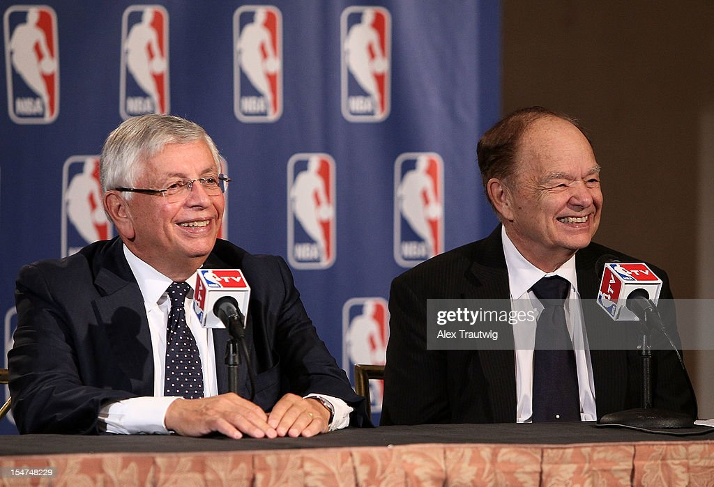 Glen Taylor (R), owner of the Minnesota Timberwolves, speaks to the media following the NBA Board of Governors Meeting, during which Commissioner <a gi-track='captionPersonalityLinkClicked' href=/galleries/search?phrase=David+Stern&family=editorial&specificpeople=206848 ng-click='$event.stopPropagation()'>David Stern</a> (L) outlined his plans to step down in February 2014, at the St. Regis hotel on October 25, 2012 in New York City.