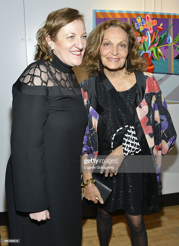 Glenda Bailey and Diane Von Furstenberg attend the 2013 Tribeca Ball at New York Academy of Art on April 8, 2013 in New York City.