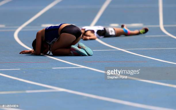 Glenda Morejon of Ecuador reacts after winning the final of the girls 5000m walk on day four of the IAAF U18 World Championships at the Kasarani...