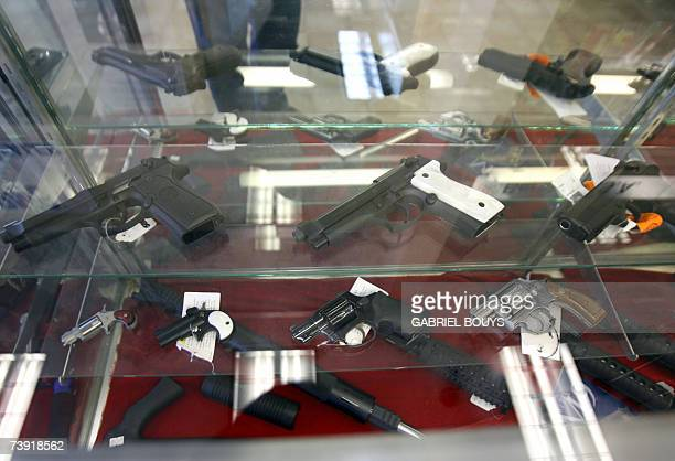 Weapons are for sale at the Gun Gallery in Glendale California 18 April 2007 The massacre at Virginia Tech has ignited fresh talk in the...