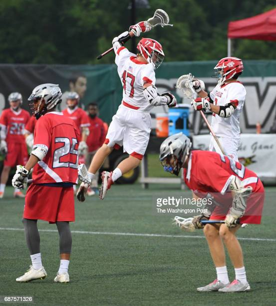 Glenelg midfielder Tyler Reif celebrates a first half goal against Northern during the Maryland State 3A/2A lacrosse championship game on May 23 2017...
