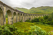 Glenfinnan Viaduct viewed from side with passing train on cloudy day