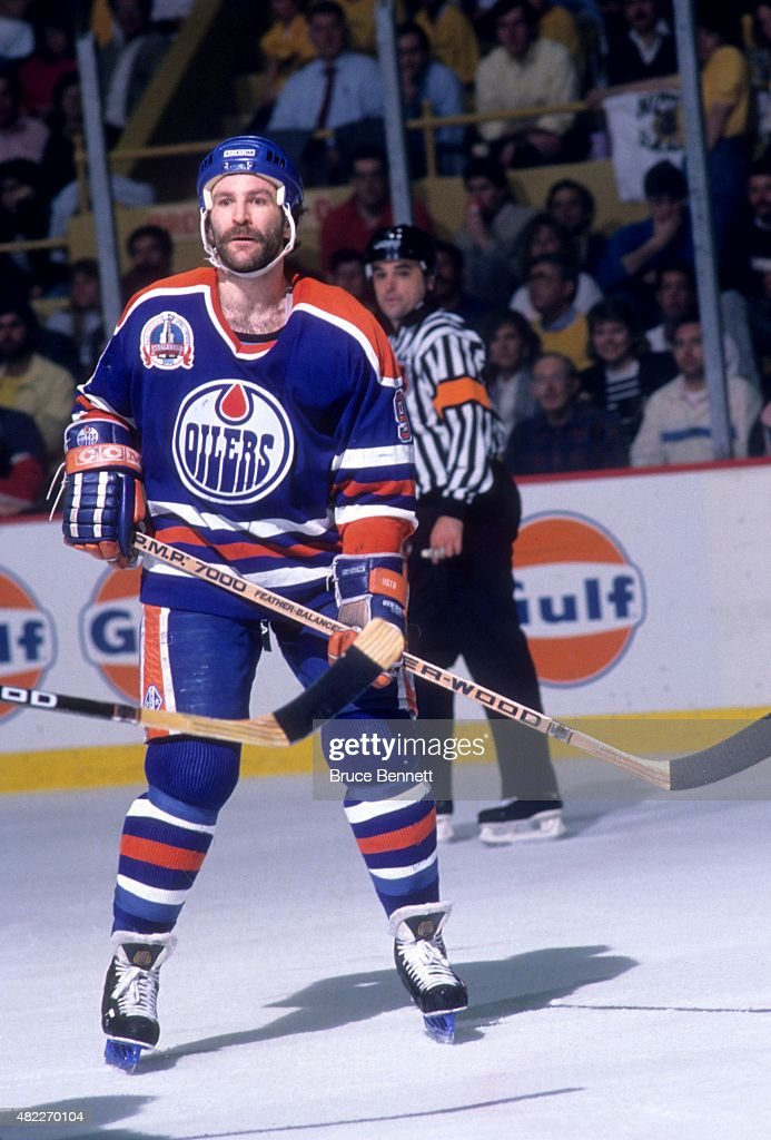 Glenn Anderson of the Edmonton Oilers skates on the ice during a 1990 Stanley Cup Finals game against the Boston Bruins in May 1990 at the Boston...