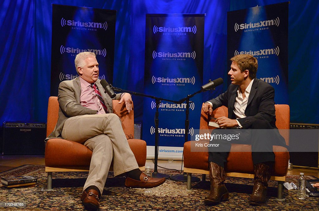 Glenn Beck and SiriusXM Patriot Host Mike Slater discuss Beck's new book 'The Eye of Moloch' on SiriusXM's 'Author Confidential with Glenn Beck' at SIRIUS XM Studio on June 10, 2013 in Washington, DC.