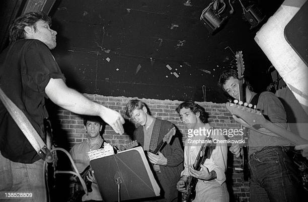 Glenn Branca performs at the Mudd Club New York c1979 with Lee Ranaldo and Thurston Moore later of Sonic Youth