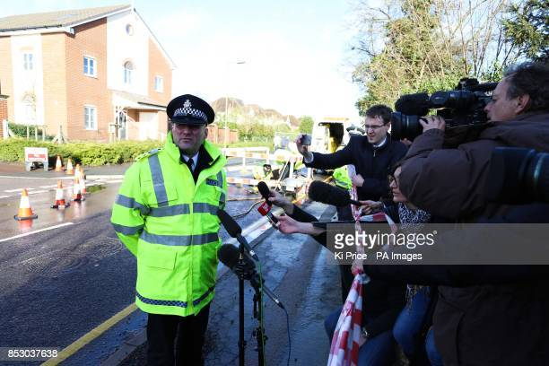 DCI Glenn Channer speaks to media at Oatridge Gardens Hemel Hempstead after a sinkhole approximately 35ft wide and 20ft deep appeared under part of a...