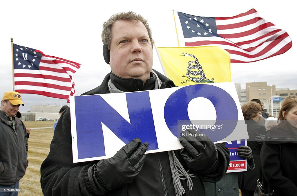 Glenn Clark of Troy Michigan attends a rally for a ballot initiative opposing the new federal health care bill March 22 2010 in Royal Oak Michigan...