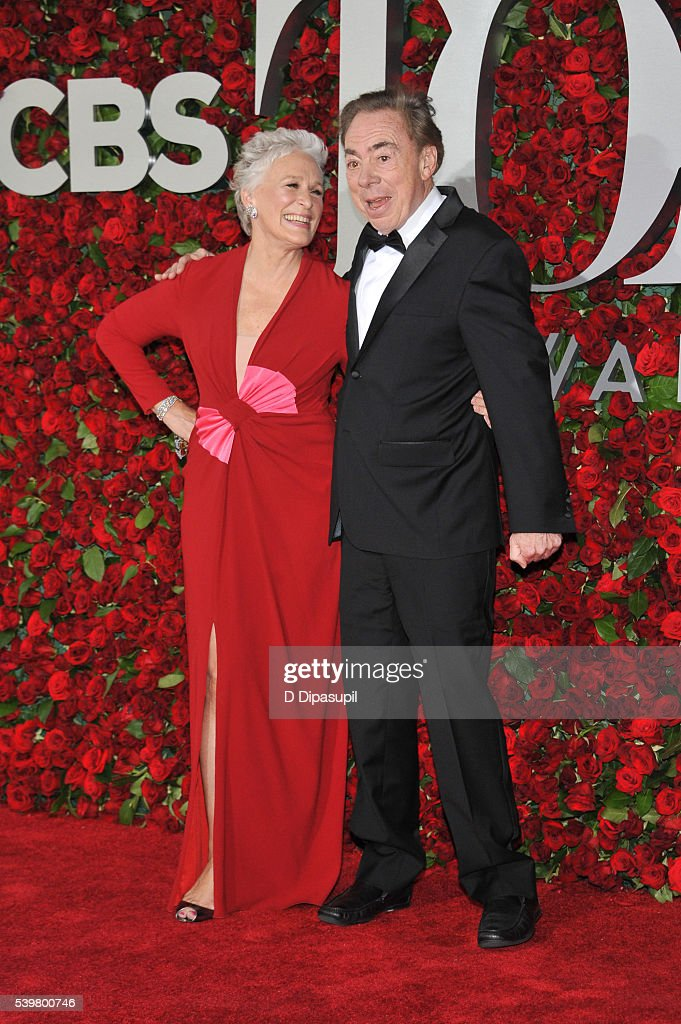 Glenn Close (L) and Andrew Lloyd Webber attend the 70th Annual Tony Awards at the Beacon Theatre on June 12, 2016 in New York City.