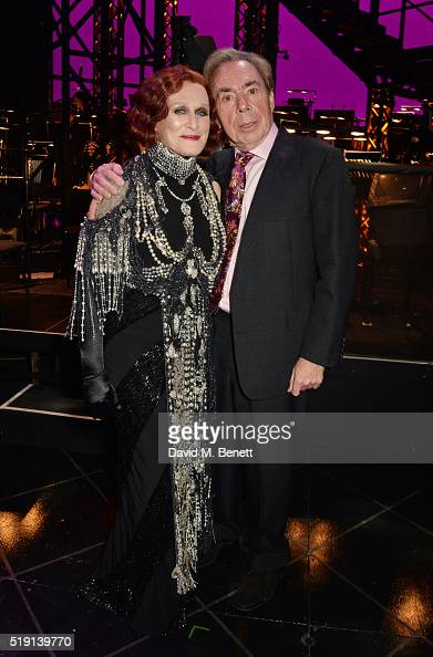 Glenn Close and Lord Andrew Lloyd Webber attend the press night performance of 'Sunset Boulevard' at The London Coliseum on April 4 2016 in London...