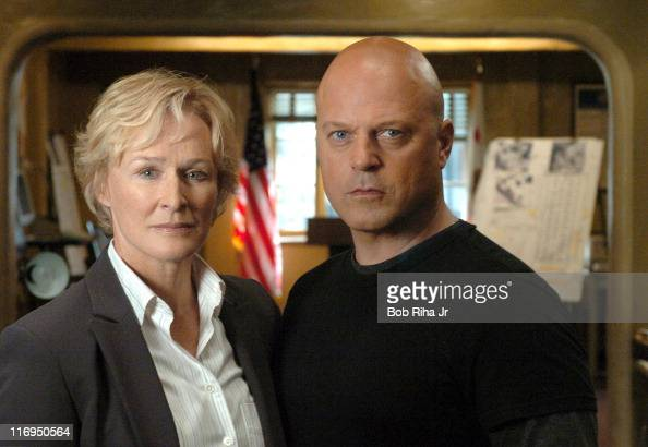 Glenn Close and Michael Chiklis during Glenn Close and Michael Chiklis on Set of FX Series 'The Shield' March 3 2005 at FX 'The Shield' Set in Los...
